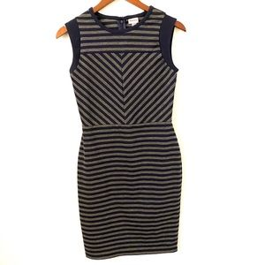 Grey and navy striped dress XS